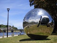 reflecting boat end (minitanker) Tags: paddle boat river bridge city silver ball reflects pohutakawa trees steamer wanganui nz new zealand