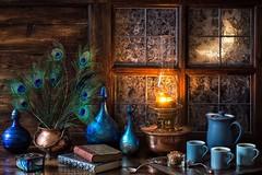 A Moonlit Evening (memoryweaver) Tags: moonlit memoryweaver specialeffect flash moonlight moon luna backlit window frosty frost kerosene paraffin light lamp oillamp cauldron copper siddylangley artglass blue feathers peacock coffee