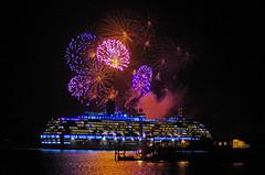 Arcadia and Fireworks 1 (David Blandford photography) Tags: hythe pier fireworks southamptonwater southamptondocks hampshire arcadia cruise liner