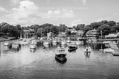 """Fishing Boats, Perkins Cove - Ogunquit, Maine, 2016 (Photographie Alexi """"Alvin"""" Dagher Photography) Tags: 2016 bw mainegifts mainelandscape mainephoto mainetourism mainesummer stockimage vacationland visitmaine architecture atlantic autumn bandw beach blackwhite blackandwhite blue boats buildingcomplex clouds colorful cove day docked fall fishing harbor horizontal inlet landscape maine marina monochrome new ocean ogunquit outdoors perkins perkinscove port quaint rowboats scenery scenic sea sky small summer tourism town travel trees uneven usa vacation village water ©alexidagher"""