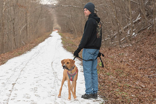David and Ruger on the Mon River Trail, Morgantown, WV