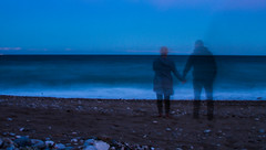 seaside memories (PDKImages) Tags: shadows ghosts love kiss beauty not there story looking memories waiting searching disappeared disappearing firstkiss lastkiss silhouettes hooded wishing monochrome sea coast waves blues blue lost palomarenaissance sky turkey