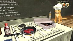 Okai yor meet iz ready in ten minitz (alexandriabrangwin) Tags: alexandriabrangwin secondlife 3d cgi computer graphics virtual world photography roscoe ginger cat pet house home kitchen cooking meat lolcat funny talk talking chef hat toque gas cooktop stove oven frypan steak beef cooked raw bbq sauce bottle olive oil warmer language