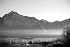 Morning Frost (Never Exceed Speed) Tags: snow fog pioneerpeak alaska palmeralaska blackandwhite scenery frost winter haze landscape mountain