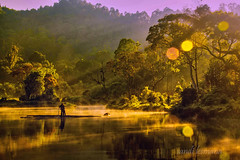 "situ gunung (sandilesmana28) Tags: water flare reflection sunrise rol tree yellow green fog ""sonyflickraward"