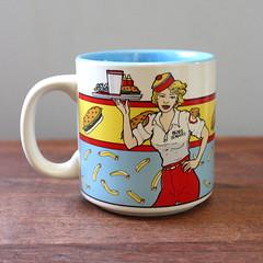 Burgers. (Kultur*) Tags: cup coffee vintage ceramic kultur housewares retro burgers 80s mug 1980s willitts etsyvintageteam