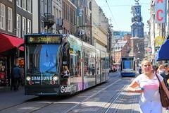 GVB Combino tram 2099, Lijn 4, Reguliersbreestraat (Don Maskerade) Tags: green amsterdam centre samsung tram advertisement galaxy edge centrum stad gvb s6 reguliersbreestraat combino 2099 reclametram thematram