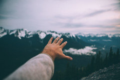 Reaching (Kesler Bear) Tags: park sunset golden national hour banff gondola