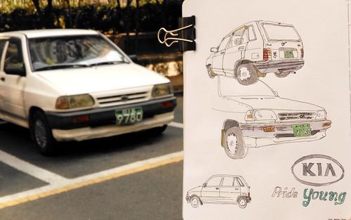 KIA Pride (1987-2000) (velt.mathieu) Tags: auto car sketch korea kia croquis