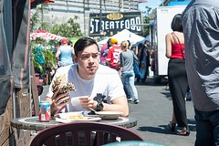 Patron at SOMA Streetfood Park (cooli_#1) Tags: california street food men girl photography photo rainbow nikon women san francisco walks shoot outdoor district bart 85mm mexican mission trucks grocery nikkor 18 tough d3