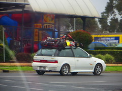 Go-Kart on a car's roof! (RS 1990) Tags: car july adelaide intersection 30th thursday southaustralia gokart 2015 modbury ridgehaven northeastrd goldengroverd