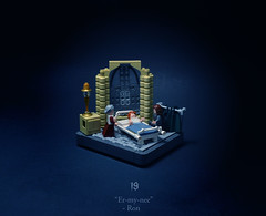 19 - Elf Tales (Melan-E) Tags: harry potter half blood prince hermione ron hospital wing microfig floor lego afol magical journey toronto torolug hogwarts lamp bed