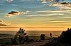 Chasseur au lever de soleil. (sergecos) Tags: ciel sky hdr paysage landscape leverdesoleil sunrise matin morning chasseur hunter nikon d7000 nuages clouds éoliennes wind turbine plaine plain pyrénéesorientales sunset