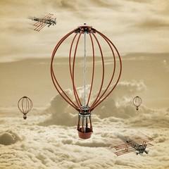 Stick Air Force (Milan Sekiz) Tags: lego balloon airplane sky force old sepia