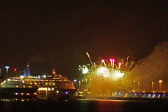 Fireworks over Southampton West Docks (clare.blandford) Tags: fireworks southamptonwater solent southanptondocks hampshire cruise liner oriana hartland point
