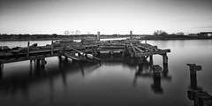 Derelict Jetty (another_scotsman) Tags: manchestershipcanal canal derelict mono blackandwhite longexposure landscape industry