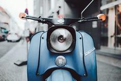 Cafe Racer (saminspeer) Tags: cafe racer vintage cinematic film berlin germany motorcycle light downtown urban drama daylight bokeh teal orange simon alexander fujinon23mm fujifilmxt1 moped