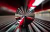 Red (katrin glaesmann) Tags: hamburg tube metro ubahn station ubahnhof hvv u4 hafencityuniversität colour train crystalball gekugelt