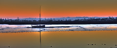 Muddy Waters... (Andy Gant) Tags: maldon essex england uk heybridge heybridgebasin riverblackwater riverside river mud mudflats boats boat landscape orange flickr picture photo photomatix water reflections sky colours colors colour color pink misty winter sunset hss happysliderssunday wow