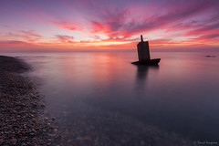 The Vertex V. [Explored & FP 12-15-2016] (dasanes77) Tags: canoneos6d canonef1635mmf4lisusm tripod landscape seascape cloudscape waterscape clouds horizon sea ocean waves calm longexposure pink red orange blue reflections shadows shoreline beach sunrise sun dawn vertex thevertex sagunto valencia tranquility coast