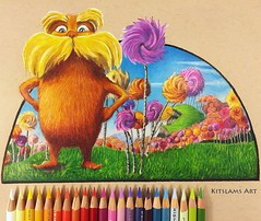 Drawing the Lorax | Ambidextrous Art (Kitslam's Art) Tags: thelorax drseuss drawing cartoon art two hand artist ambidexterity ambidextrous amazing fan arts pencilcolor pencilcolour cute lorax truffula trees forest youtube timelapse speed speedart