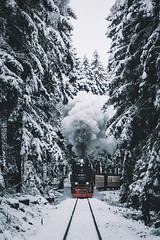 Driving home for Christmas. (Bokehm0n) Tags: landscape nature vsco explore flickr earth travel folk 500px harz winter snow vscofilm cold wood mountain track frost outdoors tree transportation system ice weather frozen fog railway vehicle