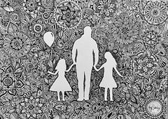 Daddy and daughters handmade illustration. (ivysanchez14) Tags: zendoodle art zentangle family mandala artwork