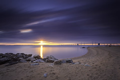 the sun will always rise (dK.i photography) Tags: sandypointstatepark annapolis maryland chesapeakebay sunrise dawn sunflare longexposure leebigstopper neutraldensity filters beach water bridge outdoors rocks sand sundaymorning sliderssunday hss