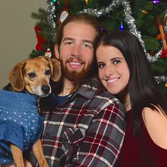 Merry Christmas! (R.A. Killmer) Tags: christmas portrait smile dog jj jones kaylee joe tree sweater ornaments beagle