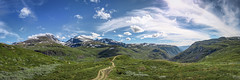 Nedre Oscarshaug (Norway) (5500km) Tags: norway norvège nedreoscarshaug sognefjellet hurrungane nasjonaleturistveger panorama hdr panoramicview landscape paysage viewpoint specland clouds mountains sky blue green nature europe mountain outdoor hill mountainside