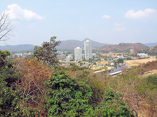 The view from  Wat Kow Takiab, or Wat Kao Lad, Chopstick Hill in 2015, about 20 miles south of Hua Hin. Prachuap Khiri Khan, Thailand.