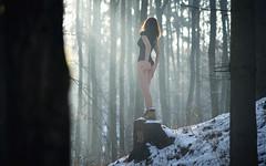 forest lady (jsmkal) Tags: girl glamour forest winter portrait sun wood blacktop lady zeiss czj sonnar 135mm m42 sony alpha7