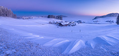 A Cold Winter Morning (PhiiiiiiiL) Tags: gähwil sanktgallen schweiz ch blue bluehour switzerland snow panorama