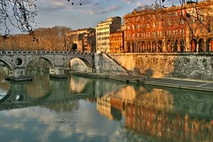 Just Rome (Pensiero) Tags: bridge trees rome roma reflection building topf25 been1of100 tiber tevere ding hdr pontesisto tevereromamor