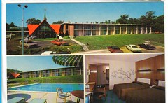 Howard Johnson's, Waterbury, CT 1960s (Guy Clinch) Tags: postcard motel swimmingpool oldcars howardjohnsons woodpaneling motelinterior