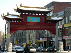 Race out of Chinatown (robtrini) Tags: city winter beauty pagoda cosmopolitan downtown chinatown montreal metropolis stecatherine