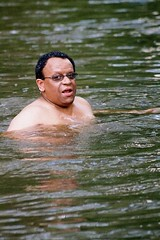Lester is not drowning (pradeep jeganathan) Tags: portrait water tag3 taggedout river tag2 tag1 srilanka ceylon bathing lester wilpattu
