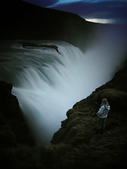 Waiting for King Kong (Tobyloc (again)) Tags: girl waterfall iceland crazy gullfoss icelandic rebekka