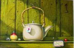 Americana Tea Pot (Charles Duch) Tags: stilllife art painting tea top redrose paintings artists teapot marbles marble oilpaintings teabag oilpainting