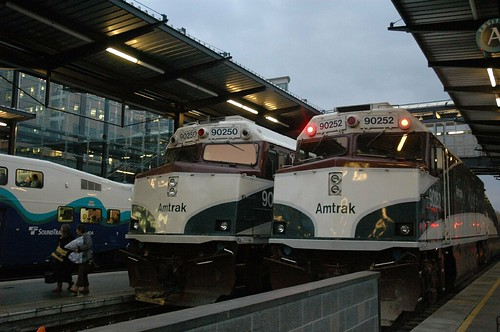 Amtrak Cascades Trains at Rest in Seattle