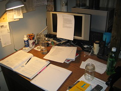 a desk is a terrible thing to waste (trunkslamchest) Tags: mountain broken glass lamp work computer book phone desk watch books dew homework calculus clutter unused