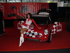 Racingqueen (Briareos1970) Tags: girls red white hot sexy girl car topv111 topv333 highheels pants legs boots mini fair 2006 cooper shorts brunette messe cebit hotpants  racingqueen racingqueens messehostess