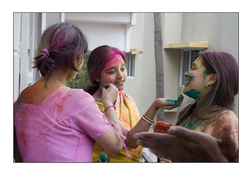Girls in Bangalore celebrate Holi with colours
