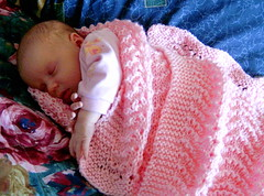 Hailey asleep with handknit blanket (Shandeh) Tags: baby knitting hailey knit blanket knitted bonnet grandbaby