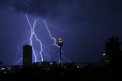 sky lines (jæms) Tags: city storm tower nature architecture night clouds wow power awesome sydney australia explore nsw electricity newsouthwales lightning electrical centrepoint pc2000 sydneytower pc2041