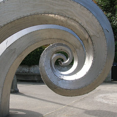 Salmon Waves (bentilden) Tags: seattle sculpture usa beautiful spiral washington rivets outdoor steel locks brushed salmonwaves paulsorey