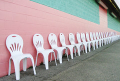 gelato row (tangerinee) Tags: wall vancouver chairs lacasagelato