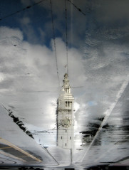 street ferry (john curley) Tags: sanfrancisco ferrybuilding muniwires morereflectiontrickery noreallyitllstopraining