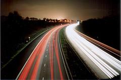 The A1(M) by night - again. (David Cowie) Tags: uk longexposure england night 35mm geotagged motorway fave letchworth a1 praktica hertfordshire a1m b200 baldock prakticab200 geo:lat=51973223 geo:lon=0195694 msh0906 msh09062
