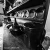 Kitchen Pots (Holfo) Tags: nationaltrust chastleton cotswolds england greatbritain house jacobean kitchen moreton uk pots pans urn nikon d750 blackandwhite monochrome